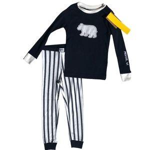 NWT Lazy One Bear Pajama Set Pants Blue White 4T